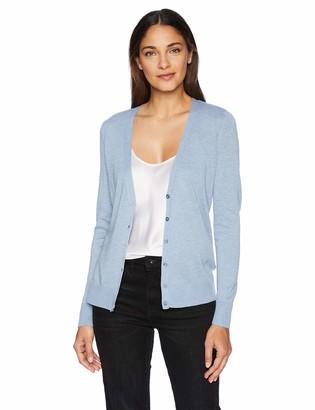 Amazon Essentials Lightweight Vee Cardigan Sweater Light Indigo Heather
