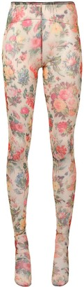 Romance Was Born Faded Memory floral print tights