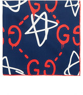 Gucci Men's GucciGhost Star Silk Twill Pocket Square-NAVY, WHITE, RED