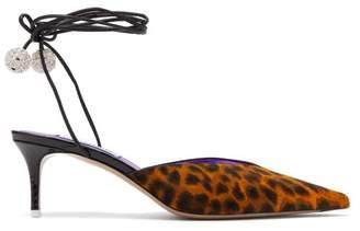 ATTICO The Tina V-cut Leopard-haircalf Mules - Womens - Leopard