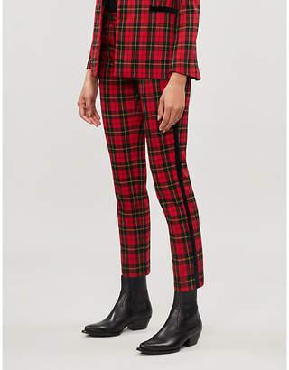 Maje Tartan straight-leg mid-rise woven trousers