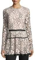 Lela Rose Jewel-Neck Long-Sleeve Lace Peplum Top
