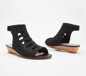Clarks Collection Leather Cutout Wedge Sandals - Abigail Sing