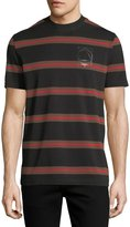 McQ Striped Logo T-Shirt, Black/Red/Brown