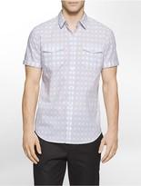 Calvin Klein Slim Fit Basket Plaid Short Sleeve Shirt