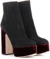 Miu Miu Suede And Velvet Platform Ankle Boots