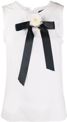 Dolce & Gabbana Floral Applique Detail Silk Top