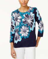 Alfred Dunner Petite Embellished Cotton Floral-Print Sweater