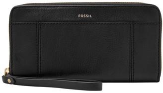 Fossil Jori Rfid Zip Clutch Wallet Black