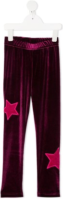 Raspberry Plum Galaxy star-patch leggings