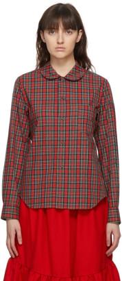 COMME DES GARÇONS GIRL Red Tartan Round Collar Shirt