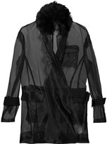Sacai transparent belted jacket - women - Cotton/Nylon/Polyester/Lamb Fur - 2
