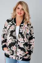 Yours Clothing Black & Multi Floral Jungle Print Bomber Jacket