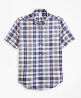 Brooks Brothers Regent Fit Blue and Red Madras Short-Sleeve Sport Shirt