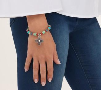 American West Sterling Silver Charm Gemstone Stretch Bracelet