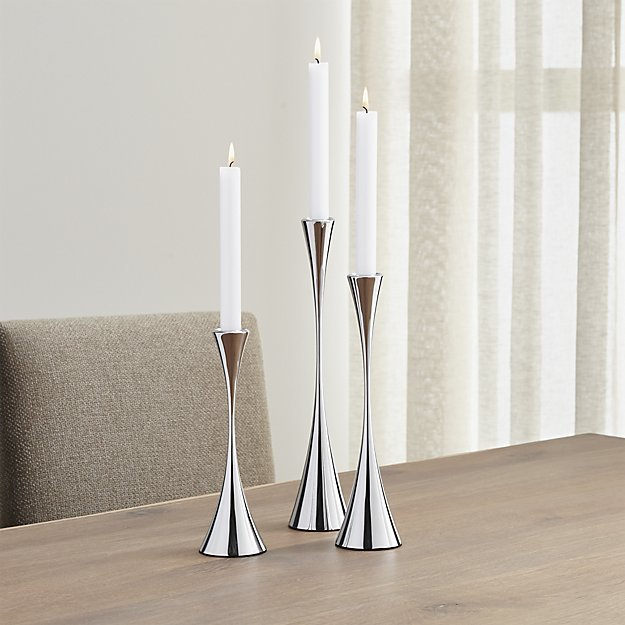 Crate & Barrel Arden Mirrored Stainless Steel Taper Candle Holders