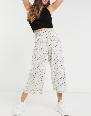 ASOS DESIGN shirred waist culotte trouser in spot print