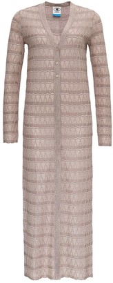M Missoni Maxi Cardigan in Lurex Knit with Zigzag Pattern