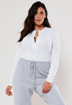 Missguided Plus Size White Button Down Jersey Bodysuit