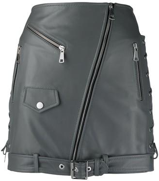 Manokhi Belt-Detail Biker Skirt