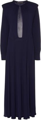 Alberta Ferretti Cut-Out Silk-Effect Crepe Midi Dress
