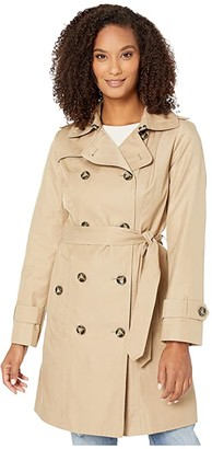London Fog Ryan Double Breasted Trench Coat with Removable Hood (British Khaki) Women's Coat