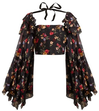 Rodarte Square-neck Floral-print Silk-blend Blouse - Black Multi