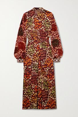 Dries Van Noten Bead-embellished Printed Satin And Flocked Chiffon Midi Dress - Orange