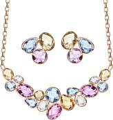 Neoglory Jewelry Rose Gold Plated Multicolor Crystal Statement Necklace Stud Earrings Set