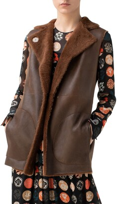 Akris Punto Reversible Lambskin Leather & Genuine Shearling Gilet