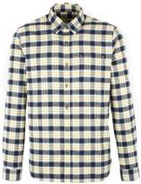 Gibson Men's Navy And Gold Check Long Sleeved Shirt