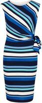 Gina Bacconi Metallic stripe jersey ruched dress