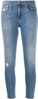 Rag & Bone Mid-Rise Distressed Cropped Jeans