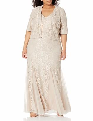 Alex Evenings Women's Plus Size Long Lace Jacket Dress with Embellished Waist