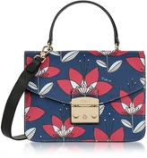 Furla Floral Printed Blue Leather Metropolis S Top Handle Bag