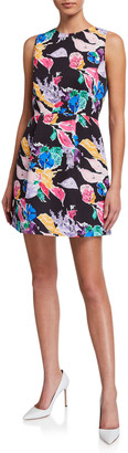 Milly Anabelle Floral Bouquet Faille Sleeveless Dress