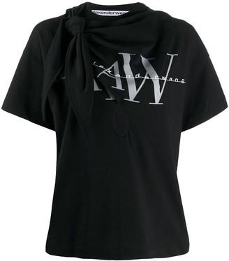 Alexander Wang tie-detail logo-print T-shirt