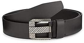 Balenciaga Men's Logo Engraved Leather Belt