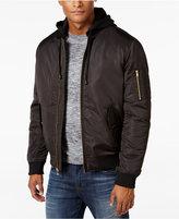 Sean John Men's Black Nylon Hooded Bomber Jacket