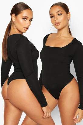 boohoo 2 Pack Square Neck Knitted Bodysuit
