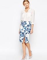Oasis Floral Print Pencil Skirt