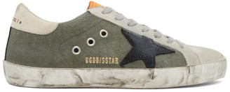 Golden Goose Green and Grey Canvas Superstar Sneakers