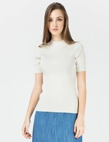 Carven White High Neck Pullover Sweater