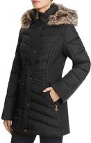Anne Klein Long Faux Fur Trim Hooded Jacket