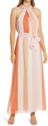 Julia Jordan Stripe Twist Halter Neck Maxi Dress