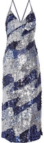 House of Holland Sequined Satin Midi Dress - Navy