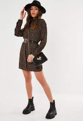 Missguided Black Floral Print Oversized Shirt Dress