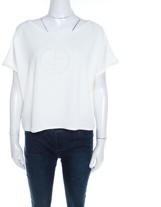 Giorgio Armani Off White Knit Studded Logo Detail Cropped T-Shirt L