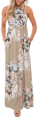 Aisuper Womens Sleeveless Summer Floral Printed Boho Beach Cocktail Gown Maxi Long Dress Large Brown