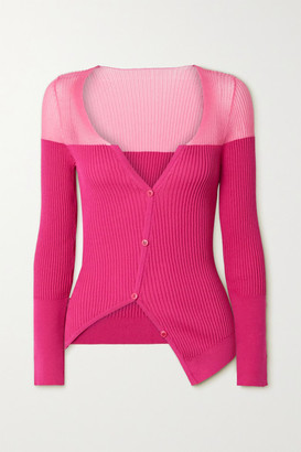 Jacquemus Tordu Asymmetric Two-tone Ribbed Cotton-blend Cardigan - Pink